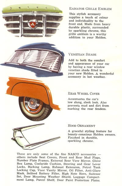 Genuine NASCO Accessories Poster. To suit 1956-1959 Holden FE/FC models . v@e.