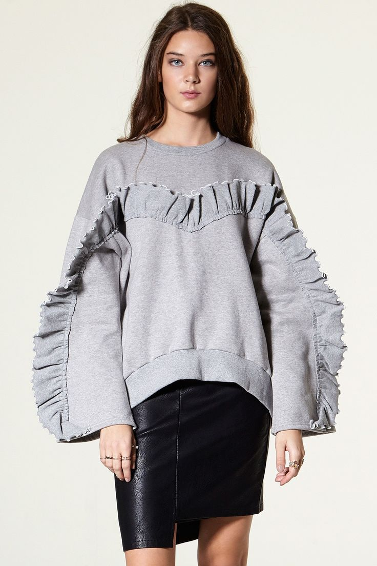 Sanny Ruffle Oversized Sweatshirt Discover the latest fashion trends online at storets.com