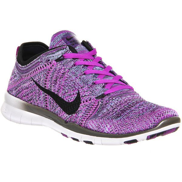 Nike Free Tr Flyknit ($160) ❤ liked on Polyvore featuring shoes, hers trainers, hyper volt crimson purple, trainers, breathable shoes, low top, woven shoes, nike footwear and purple shoes