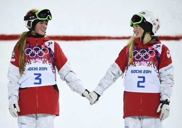 Photo by Dylan Martinez / Reuters  Canadian freestyle skiers and sisters Chloe Dufour-Lapointe (left) won silver and Justine Dufour-Lapointe (right) won gold. Even though their eldest sister, Maxime (below), finished 12th, she continued to cheer her siblings on from the crowd. http://www.buzzfeed.com