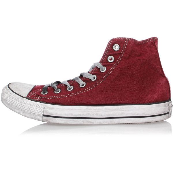 CONVERSE ALL STAR Special Edition Fabric high top Sneakers ($56) ❤ liked on Polyvore featuring shoes, sneakers, red, red high top sneakers, red shoes, hi tops, vintage sneakers and converse sneakers