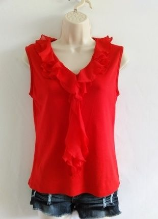 Buy my item on #vinted http://www.vinted.com/womens-clothing/sleeveless-and-tank-tops/20386012-jones-new-york-vibrant-red-frilly-blouse