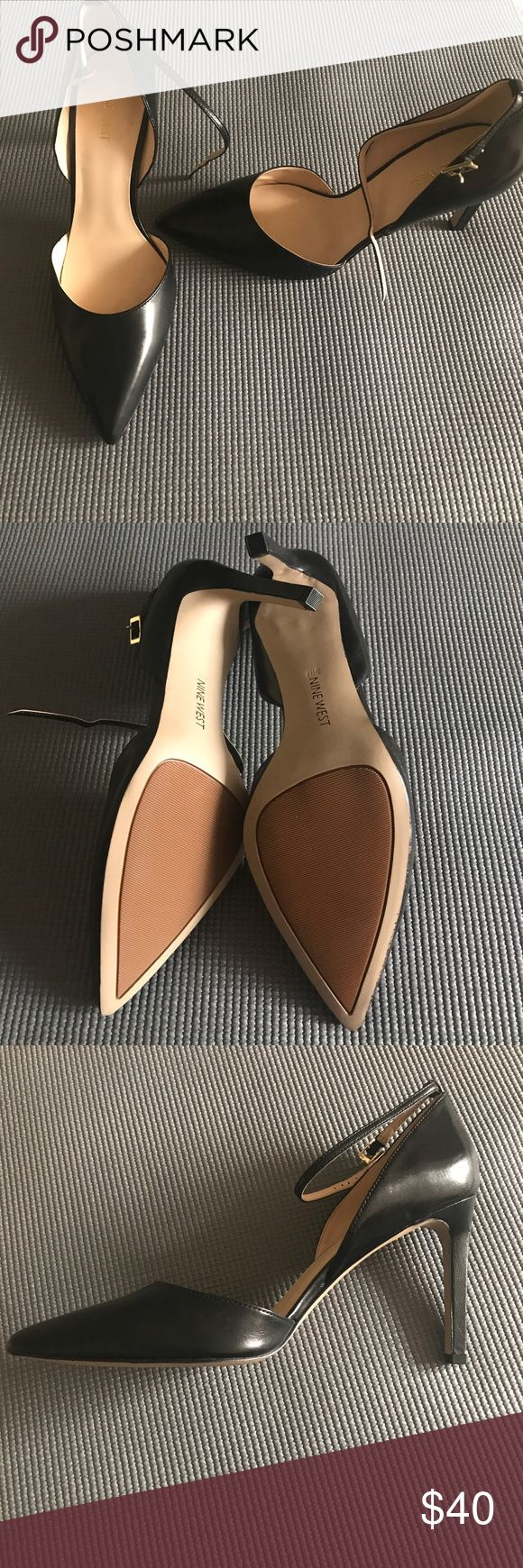Nine West pointed toe ankle strap pumps Never worn! Nine West black pumps with a thin ankle strap. Great for work or formal occasions! About a three inch heel. Nine West Shoes Heels
