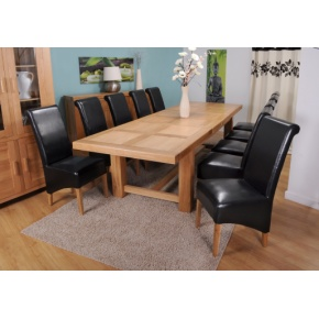 Grand Marseilles Large Oak Dining Table with 10 Krista Black Leather Chairs - Set  www.easyfurn.co.uk