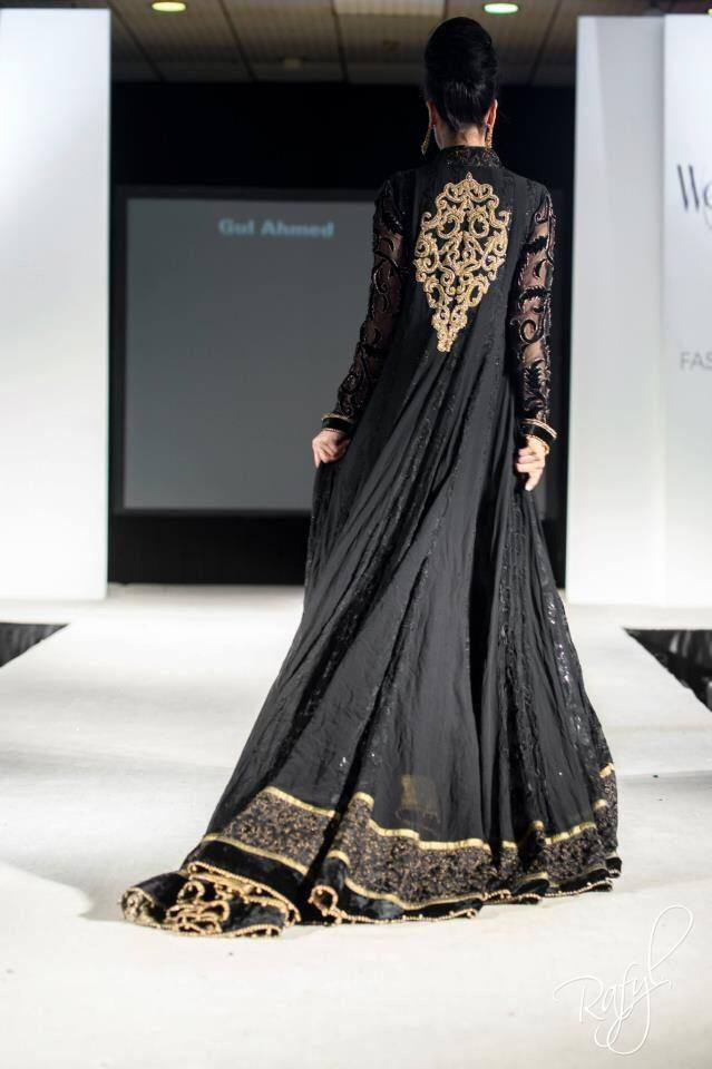 Black Anarkali dress with gold embroider - http://kaftan2012.com/black-anarkali-dress-with-gold-embroider/