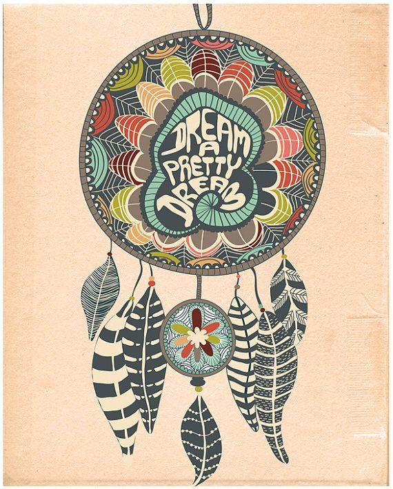 "Dreamcatcher Giclee Print ""THE DREAMCATCHER - No.1"" Giclee Print Bedroom Art, Dorm Decor Poster, Modern Dorm Art, Illustration and Quote"