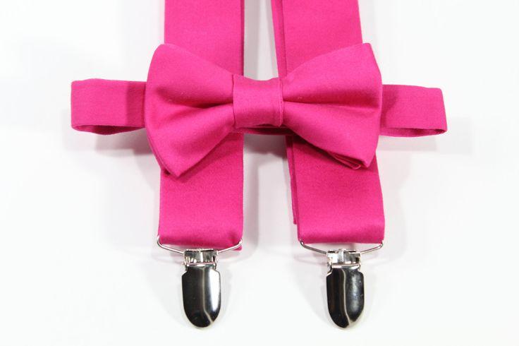 Hot pink suspenders set, Hot pink suspenders and bow tie. Pink suspenders and bow tie (Men, boys, baby, toddler, youth, teens, infant) by PetitsEnfantsCloset on Etsy