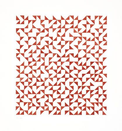 Anni Albers, DR XX (B), 1975  Red Ink on Paper. JAAF: 1994.10.59  64.8 x 49.5cm (25.5 x 19.5 inches)  ©2003 The Josef and Anni Albers Foundation / Artists Rights Society (ARS), New York