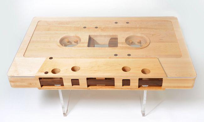Mixtape TableCoffe Tables, Mixtape Tables, Coffee Tables, Diy Crafts, Cassette Tape, Living Room, Wooden Tables, Music Room, Design