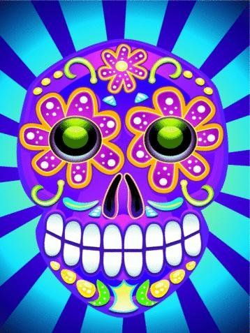 Dia De Los Muertos Skull Wall Decal - 52 Inches H x 39 Inches W - Peel and Stick Removable Graphic
