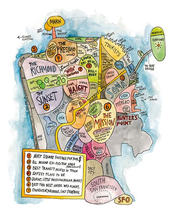 LOVE the Psychological #map of #SanFrancisco as illustrated by Wendy Macnaughton for #7x7