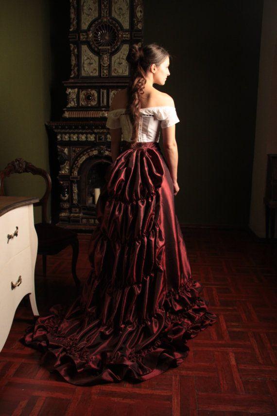 Victoriaanse Bordeaux rok jaren 1880 door FiorentinaCostuming