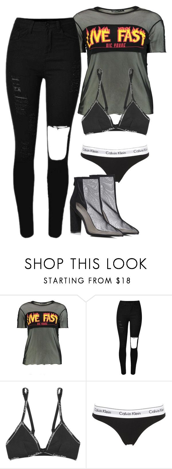 """How To Style: ""Boohoo Petite Emma Live Fast Slogan Mesh T-shirt"""" by emmammh ❤ liked on Polyvore featuring Boohoo and Calvin Klein Underwear"