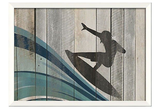 Surfer art for little boy surf room @Laura Handy, this is kind of cute/vintagy!
