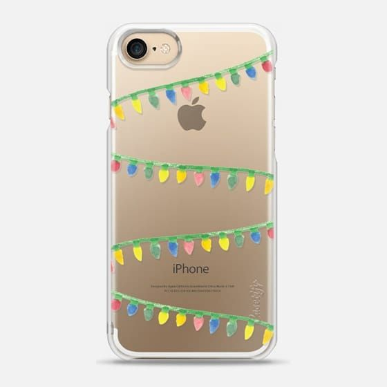 your phone all wrapped up in string lights for the holidays! little watercolor twinkle lights create a festive accessory