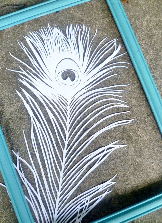 Hand cut paper peacock feather in white by PapaverDesigns on Etsy, £25.00