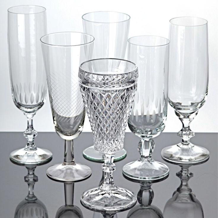 6 verschiedene Sektgläser Gläser Sammlung Vintage Mix Sektkelche Trinkgläser