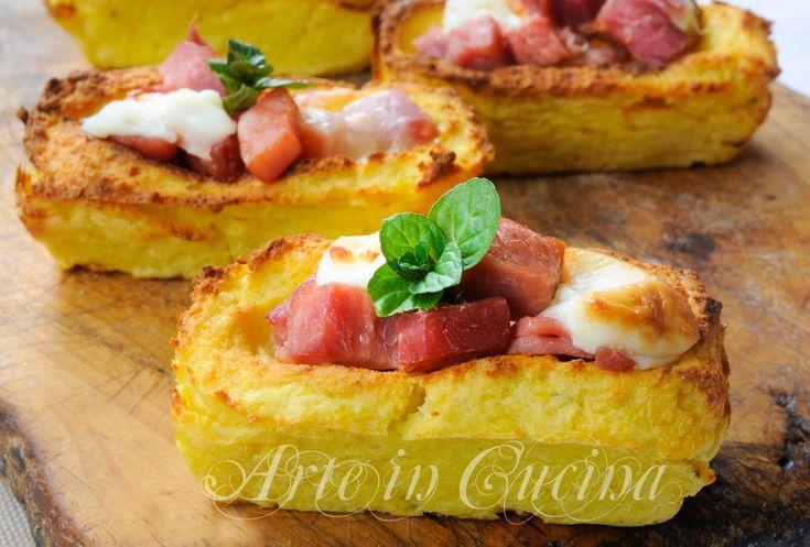 Barchette di pure di patate ripiene con salumi vickyart arte in cucina
