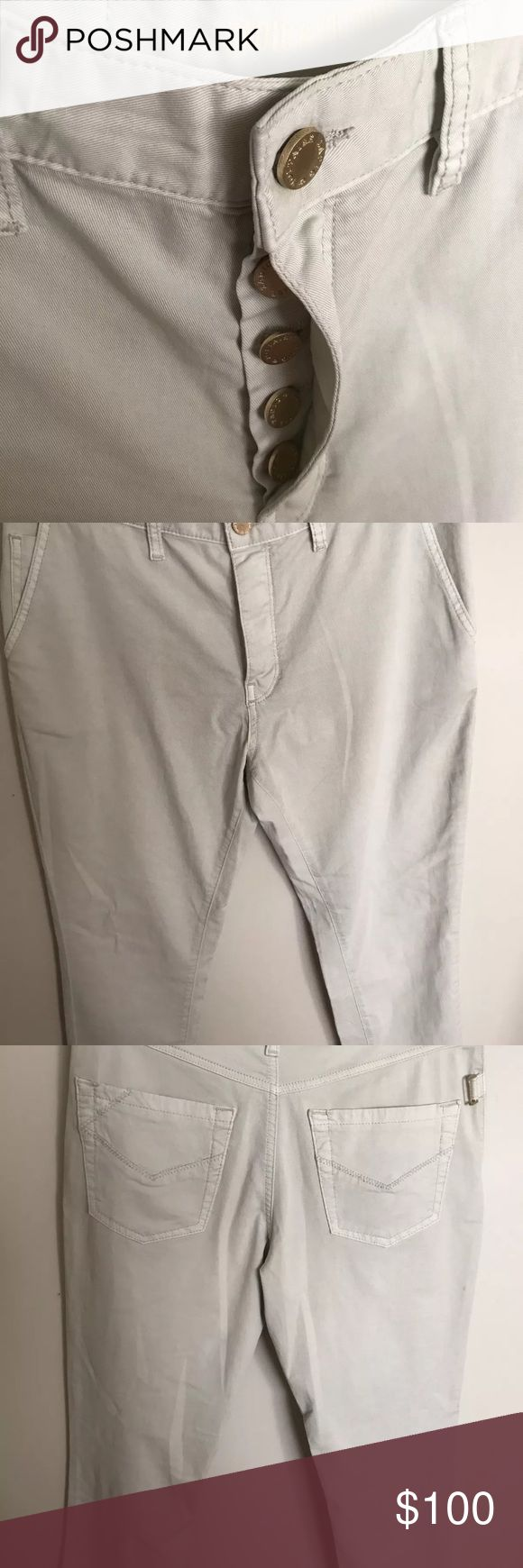 "Zadig & Voltaire Off-White Denim Button Fly Pants Five button down fly. Double side pockets and two rear pockets. Gold Embellishments (See photos)  SBCE0103F 36                                                                                           Size Small 36 (see photo of size chart)                                                                                         Eliot Ice (Off-White)  Retail Price $230.00  98% Cotton & 2% Elastane  Approximate measurements: 10"" rise, 26""…"