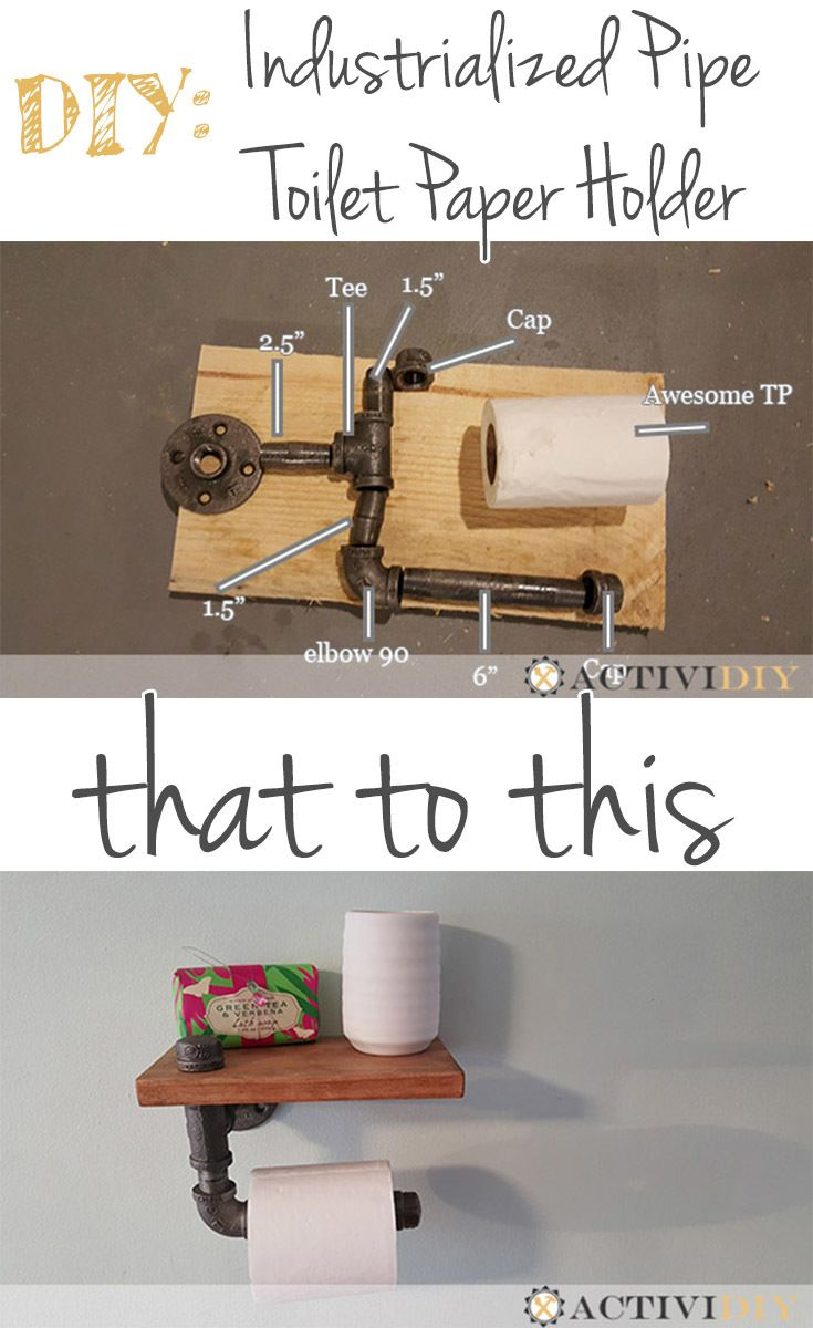 Picture instructions for making a simple industrialized pipe, toilet paper holder with shelf.