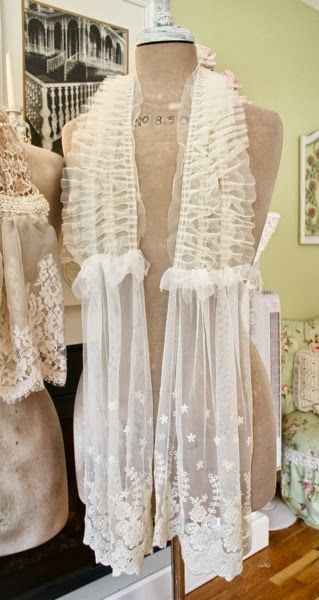 The Polka Dot Closet: Making Shabby Scarves From Vintage Table Runners And Lace. Nice idea.