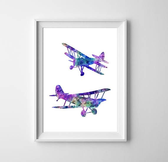Airplanes Watercolor Art Plane Print Boys Room Prints Aircraft