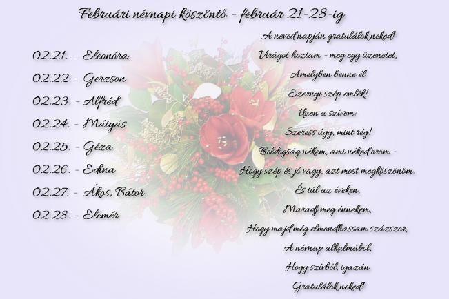 Februári névnapi köszöntők - február 21-28.