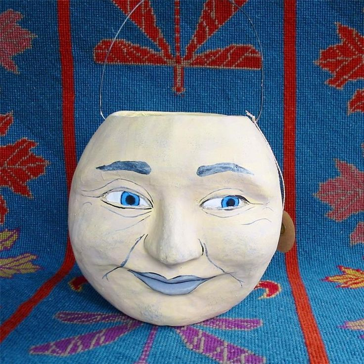 Cody Foster Halloween Man in the Moon Paper Mache Jack O'lantern JOL Bucket