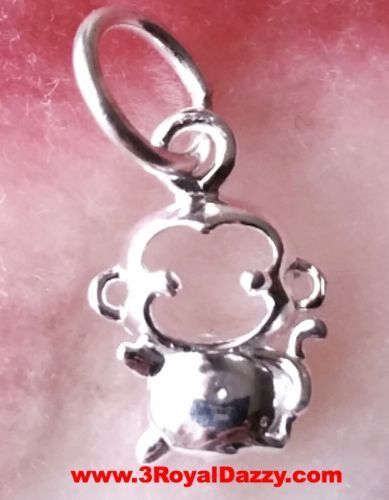 Baby Monkey Chinese Zodiac Horoscope .925 Anti Tarnish Sterling Silver Pendant