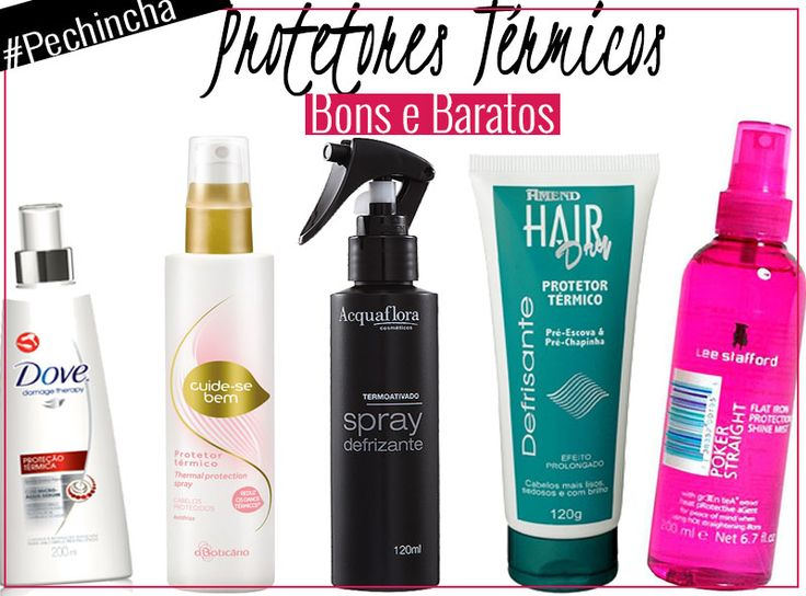 1. Creme para Pentear Dove Proteção Térmica, R$ 8,90 2. Spray Protetor Térmico Cuide-se bem, O Boticário, R$20,39 3.  Spray Defrizante Termoativo, Acquaflora, R$27,90 4. Leave-in Hair Dry Protetor Térmico Pré-Escova, Amend, R$28,80 5. Protetor Capilar Poker Straight Flat Iron Protection Shine Mist, Lee Stafford, R$29,00
