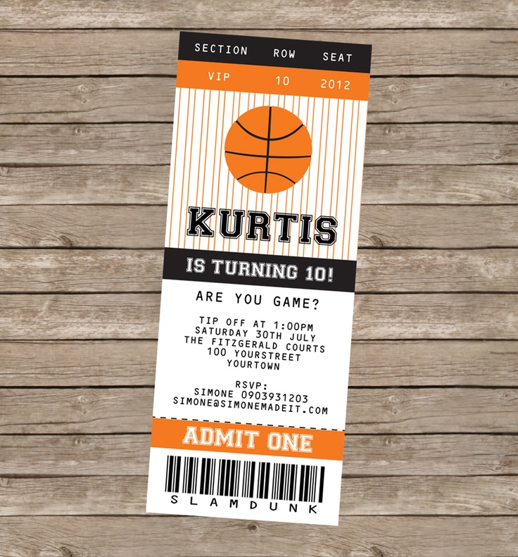 78 ideas about Basketball Tickets – Ticket Invitation Maker
