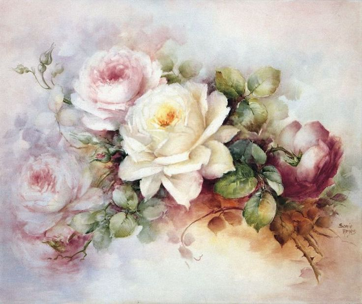 Absolutely stunning rose design painted by Sonie Ames. Society of Decorative Painters