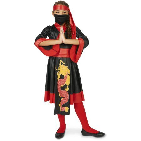 Black and Red Ninja Girl Dress Child Halloween Costume, Size: Medium