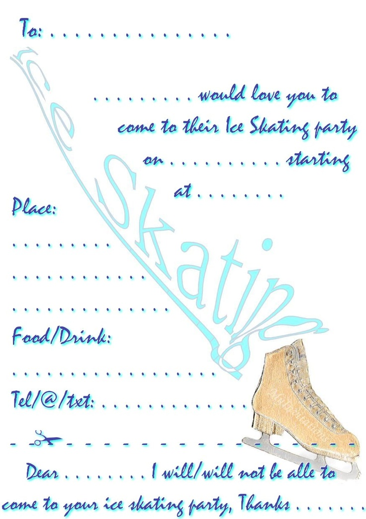 Ice Skate Printable Get Your Party Off To A Cool Start
