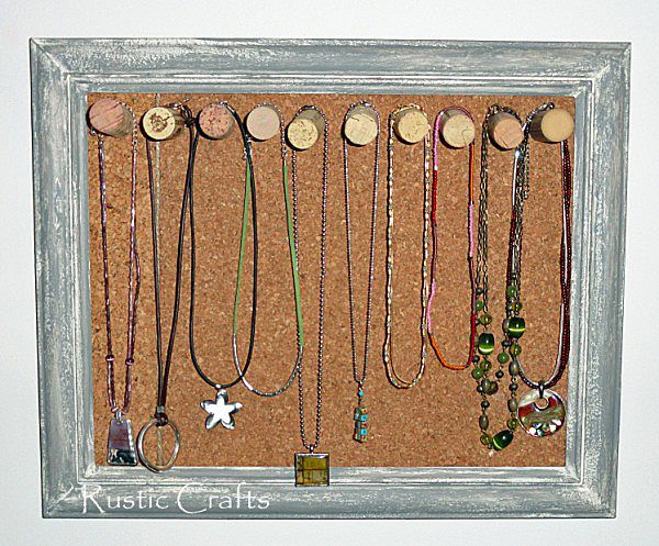 DIY cork board jewelry holder