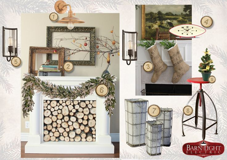 Christmas Fireplace & Mantel   Barn Light Electric's Style Me Sunday   #holiday #christmas #stockings #burlap