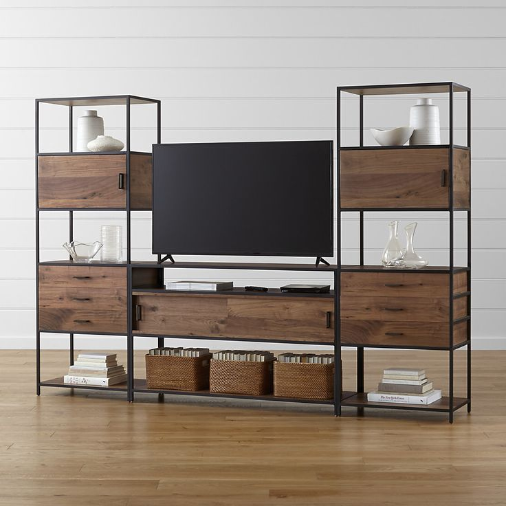 Knox Media Console With 2 Tall Storage Bookcases + Reviews
