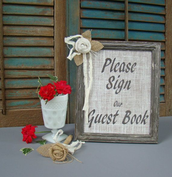 Instant guest book table,   Wedding Guest Book Set Burlap Wedding Guest Book by TwiningVines, $48.00