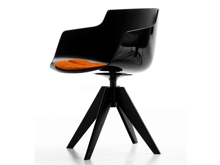 Cadeira lounge de policarbonato com cavalete FLOW SLIM ARMCHAIR Coleção Flow by MDF Italia | design Jean-Marie Massaud