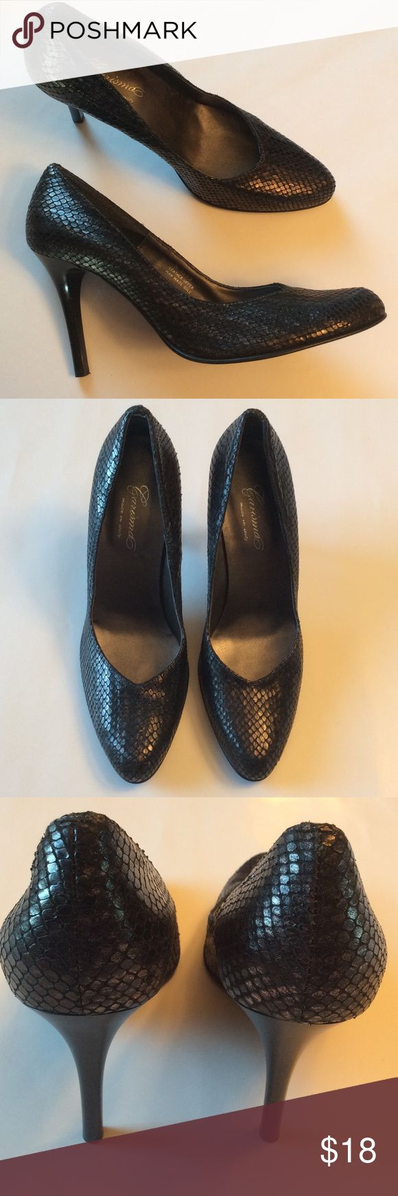 """Black Leather Metallic Pump Italian made black metallic leather pumps with snakeskin style finish. Great condition. 3.5"""" Heel. No box but will be wrapped and shipped with care. Carisma Shoes Heels"""