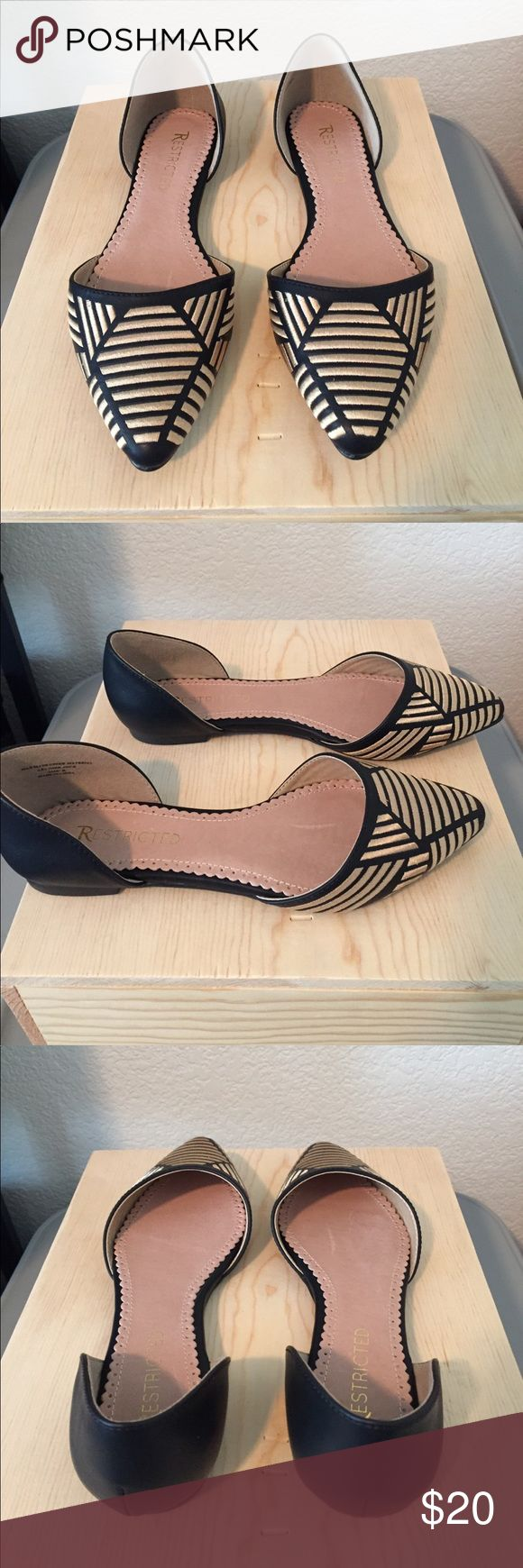 Black and Gold Pointed Toe Flats Black pointed toe flats with gold angled embroidery by Restricted. Size 6, but runs large. Worn once. Restricted Shoes Flats & Loafers