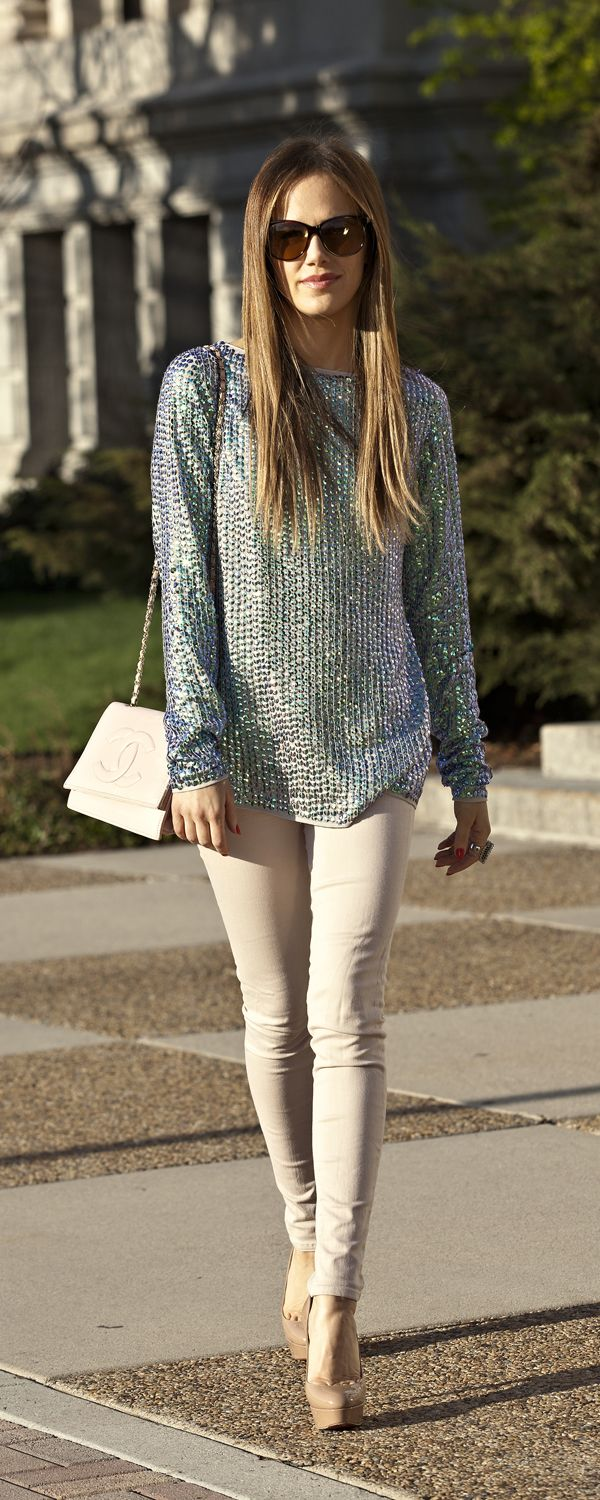Sequin hologram asos top, jbrand jeans, louboutin shoes, chanel bag www.thefashionfuse.com
