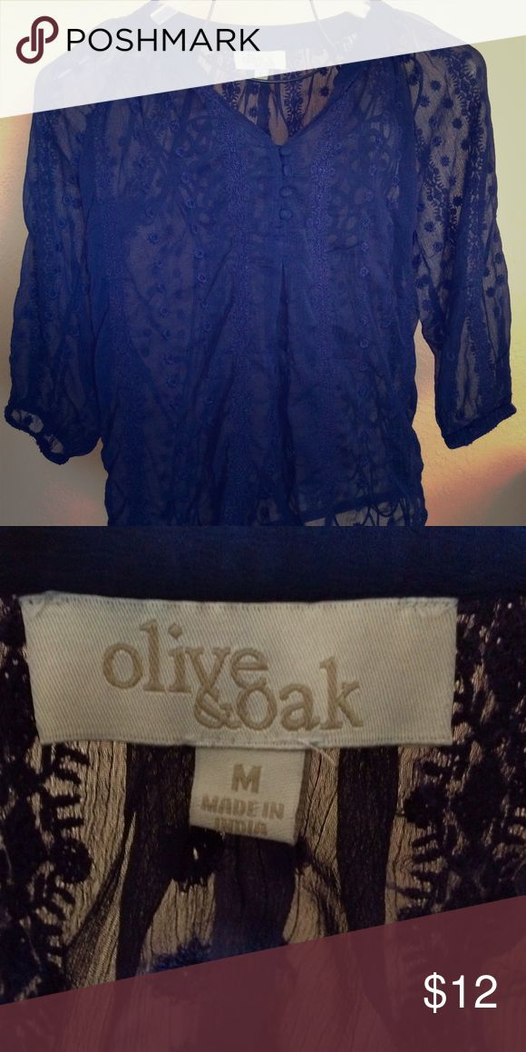 OLIVE AND OAK sheer embroidered navy blouse OLIVE AND OAK sheer embroidered navy blouse size M Olive & Oak Tops Blouses