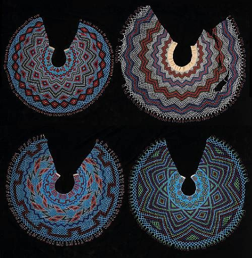 Paiute (Nevada), Women's Collars, beads/silk, c. 1910.