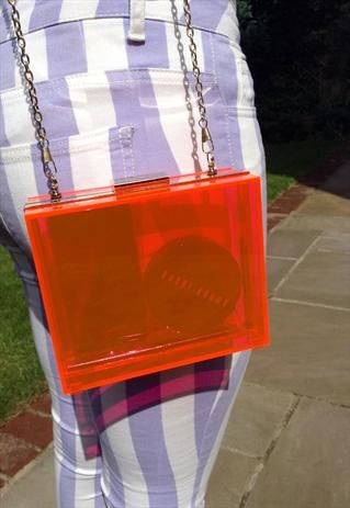Coral Perspex clutch with chain