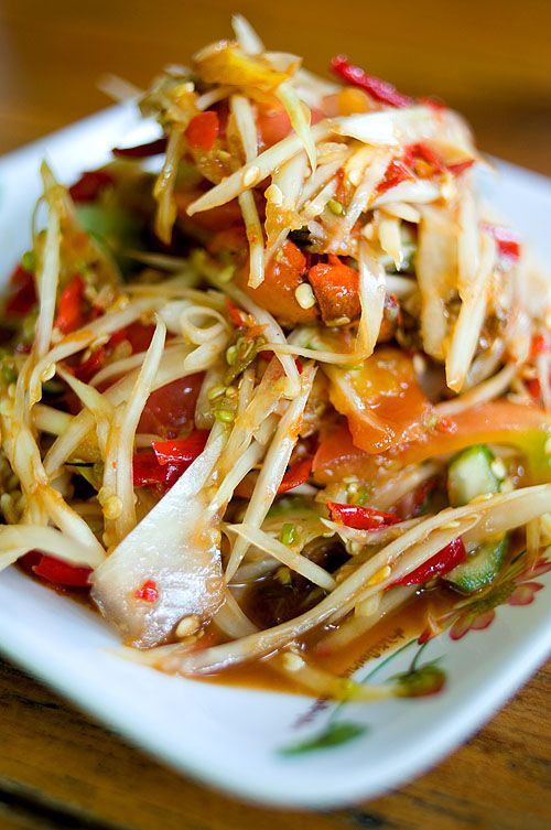 Lao style papaya salad. spicy goodness! My mouth is watering : )