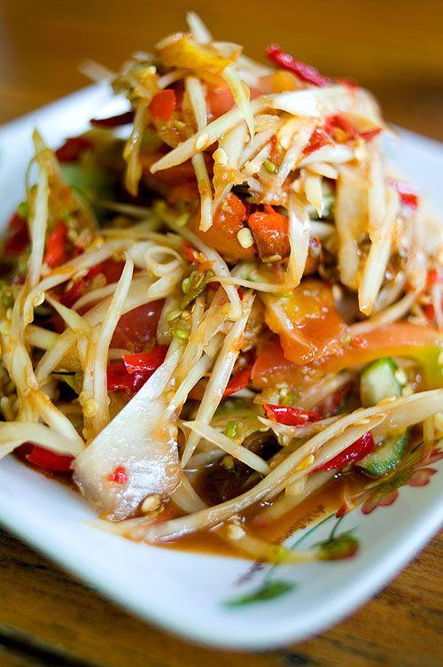 Lao style papaya salad. spicy goodness!