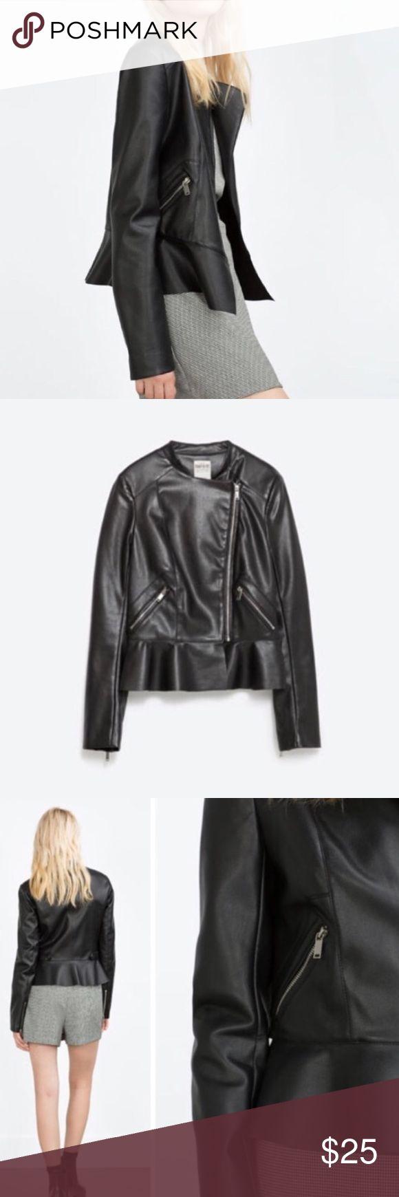 Faux Leather Zara Jacket Peplum style, zip front. Brand new! Zara Jackets & Coats