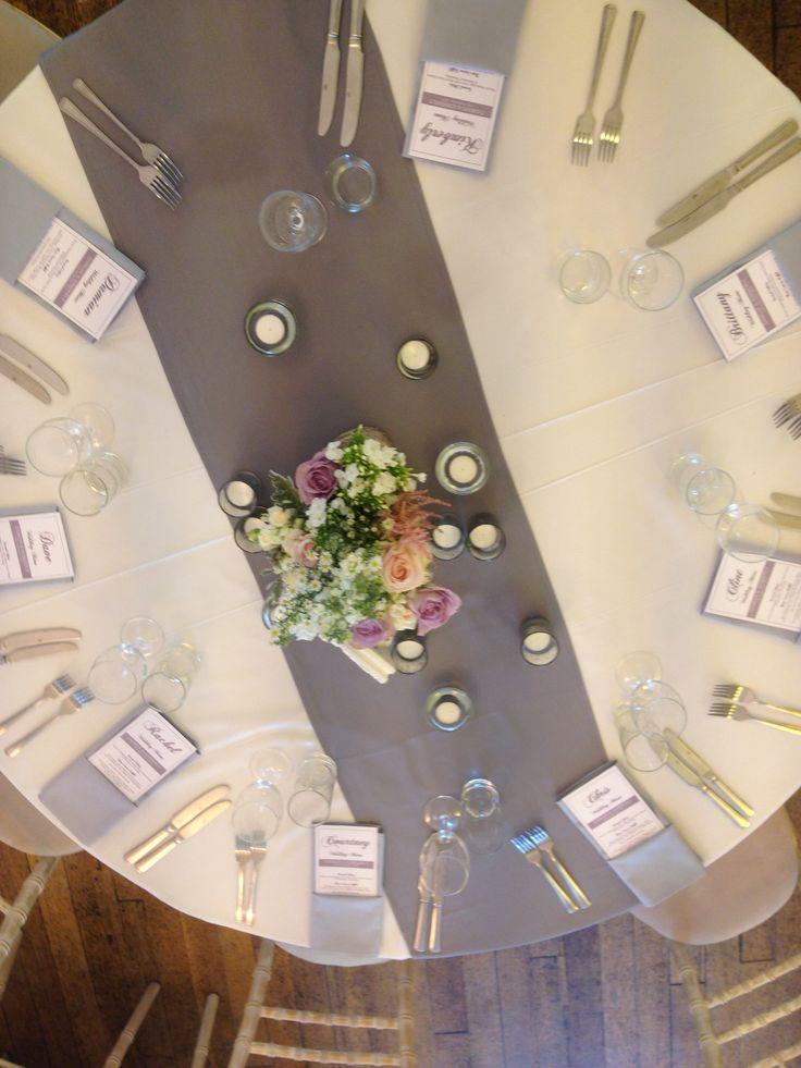 gray table runner wedding 1