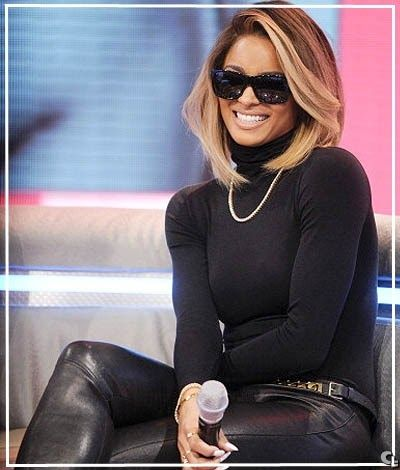 ciara's new blonde bob haircut is super hot with the ombre effect, blonde highlights, and wavy effect of the cut